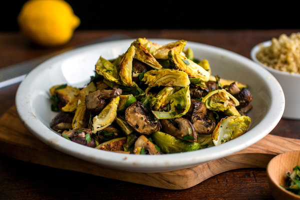 Fried cauliflower and brussels sprouts in pesto sauce